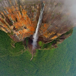 Stunning 360 aerial photo of Angel Falls, Venezuela.