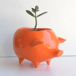 Adorable piggy bank style Ceramic Pig Planter by ceramic artist Wendy Alderman.