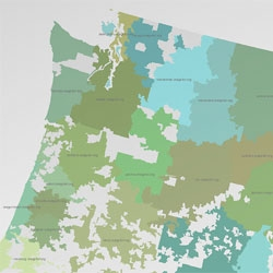 A look at the US as mapped by Craiglist postcodes created by IDV using a Voronoi algorithm.