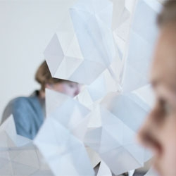 Mimosa, a divider by Sebastiaan Pijnappel that responds to the user's movements and gestures.