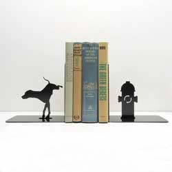 Cute dog and fire hydrant bookend set from Knob Creek Metal Arts.