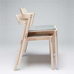 Stacking solid ash chairs design by RISD student Jonah Willcox-Healey while studying abroad in Copenhagen, Denmark.