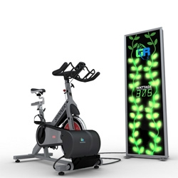 The Green Revolution and GYRE9 partnered to produce a solution for recovering the normally wasted energy from an exercise bike and funneling it back to the grid. Game on!