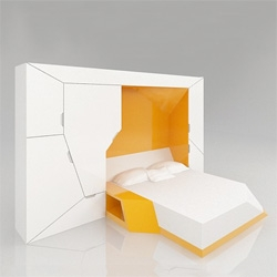 Boxetti Private, a bedroom module that contains a double bed, night stand and wardrobe in a single unit!