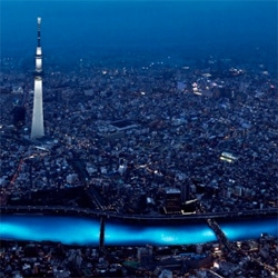 100,000 LED lights float down the Sumida River in the inaugural Tokyo Hotaru festival. The prayer 'stars' designed to resemble fireflies are LEDs provided by Panasonic.