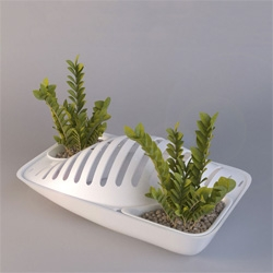 Fluidity by DesignLibero uses runoff from your drying racks to water the houseplants.