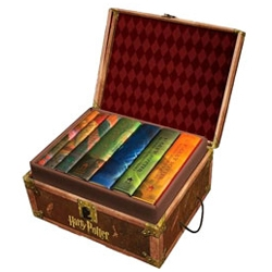 "Interesting promotional packaging ~ the full harry potter ""trunk"" box set ~ granted its made of cardboard, its a fun idea and comes with stickers."