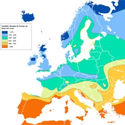 A pretty map capturing the hours of sunlight different regions of Europe receive.