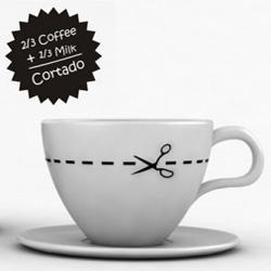 Give me a CORTADO !!! 2/3 coffee + 1/3 milk coffee cup. Design by Ignacio Pilotto