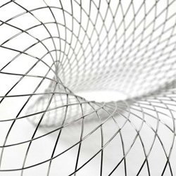 Reverb Wire by Brodie Neill. A wireframe network of handformed and mirror polished stainless steel rods map out the expansive conical geometry of the Reverb Wire Chair.