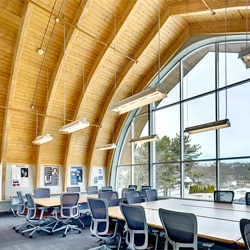 Design and Technology Center at Morristown State College by Perkins Eastman Architects turns an old dairy barn into the Sheila Johnson Design Center.