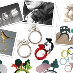A roundup of all of the silhouette rings we've been coming across, from diamonds in plastic to handscapes and farm animals...