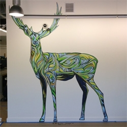 Ian Ross' deer murals for the Mountain View Google offices.