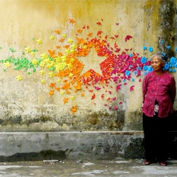 Mademoiselle Maurice creates urban origami installations.