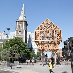 Paleys upon Pilers (palace on pillars) by Studio Weave sits atop the site of London's Aldgate.