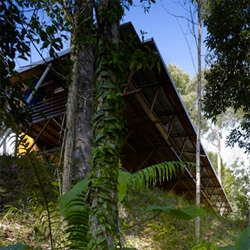 Shelter @ Rainforest in Sabah, Malaysia designed by Marra + Yeh Architects is a zero-energy house in the deep jungle of Borneo.
