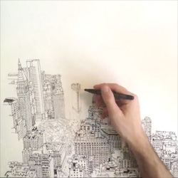 Beautiful timelapse of illustrator Patrick Vale drawing the view of the Manhattan skyline from the Empire State Building.