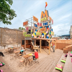 The Movement Pop Up Cafe, a temporary cafe and performance space built next to the DLR station in Greenwich, South East London.