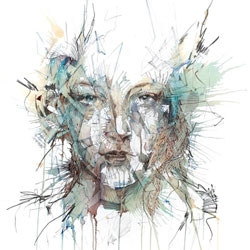 Carne Griffith's beautiful portraits are made from uncommon mediums including tea, brandy, vodka, whiskey, graphite and calligraphy ink.