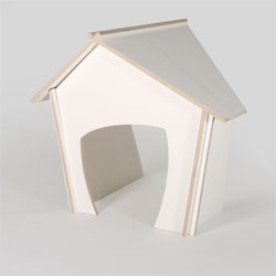Koppinen, a cute plywood doghouse designed by Saara Utti.