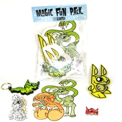 "Joe Ledbetter has a ""Magic Fun Pack"" for $20 ~ 1 Kittypillar keychain, 1 Chimera sticker, 1 Mr. Bunny patch, 1 Unicornasaurus magnet, 1 Fire-Cat lapel pin, and about 5 Mr. Bunny stickers"