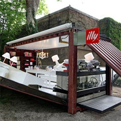 "Inspired by this Illy ""Push Button House"" Cafe ~ check out this post of more than 10 breathtaking designs utilizing shipping containers in the most incredible ways."