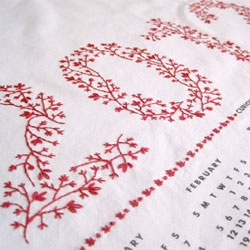 Embroider your own calendar this year with the 2012 Tea Towel Calendar DIY Embroidery Kit.