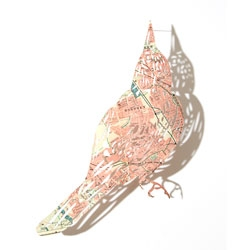Beautiful birds cut from maps by Claire Brewster.