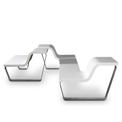 Studio Segers' 1m² bench. Elegant and flexibly configured outdoor furniture.