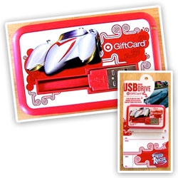 On more innovative gift card design by target... for Speed Racer, it has a built in USB... with a mere 62.8 MB - but comes with coloing pages, a coupon, wallpapers, and a special code for the Wii game!