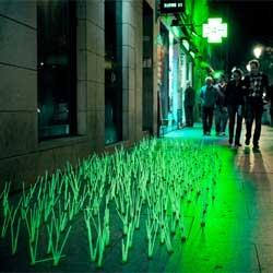 Luzinterruptus' Mutant Weeds take over Madrid.