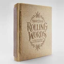 """Rolling Words"", Snoop Dogg's Smokable Song Book with rollable smoking paper pages, hemp covers and a built in matchbox from Pereira & O'Dell. ."