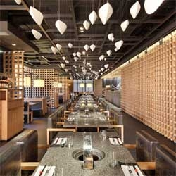 The Yakiniku Master Japanese Barbecue Restaurant in Shanghai, China designed by Beijing-based Golucci International Design.