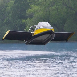 The Flying Hovercraft, for cruising on the water or taking off up into the air.