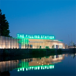 The King's Cross Filling Station by Carmody Groarke. The group have transformed an abandoned canal-side petrol station in north London into a temporary restaurant and events space with fluted walls.