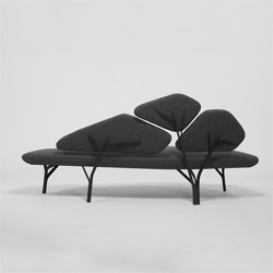 Borghese, a beautiful new sofa by Noé Duchaufour Lawrance for La Chance, inspired by the pine trees of Villa Borghese.