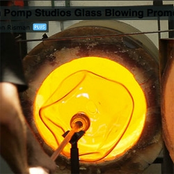 Glass blowing at the John Pomp Studio in Philiadelphia.