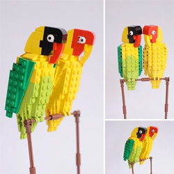 Tom Poulsom extends his LEGO bird series to tropical birds.