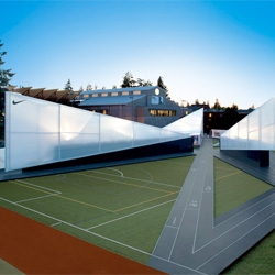 Camp Victory, Nike's Olympic trial pavilion as a temporary exhibition at the University