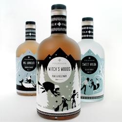 Student Caleb Heisey's packaging work for Folksaga, a Swedish distillery of akvavit, a traditional Scandinavian liquor.