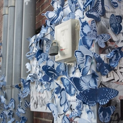 Beautiful blue installations from Tasha Lewis. Love the name of her blog too (Cyanotypology).
