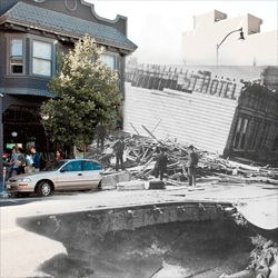 Shawn Clover Part II of 1906 + 2010: The Earthquake Blend, combining photos from the San Francisco Earthquake with San Francisco today.