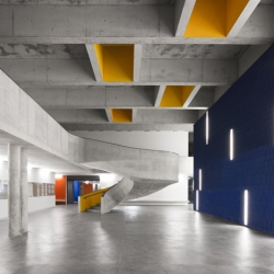 Concrete meets primary colors in the Braamcamp Freire Secondary School designed by CVDB Arquitectos.
