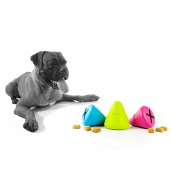 The Tretkon dog toy  from Petprojekt holds treats in its tough rubber cone.