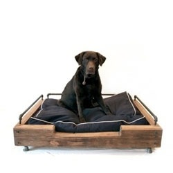 Olga Guanabara dog beds made from reclaimed wood and steel.