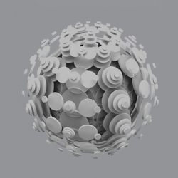 Kyuha Shim's geometric 3-D objects created from the extrusion of 2-D mandalas.