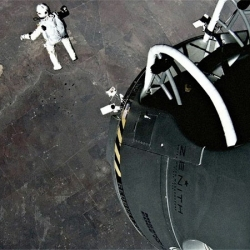 Redbull releases POV footage from BASE jumper Felix Baumgartner's record-breaking leap from a balloon some 24 miles off the ground, which took place last year.