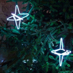 Illuminated bent glass Christmas ornaments by Pernilla Ohrstedt at London's Edition Hotel.
