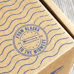Lovely packaging for Sitka Salmon Shares, providing blast-frozen fish to Midwestern cities.
