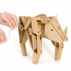 Walking cardboard animal kits from Kinetic Creatures.